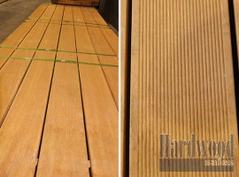 SOLID BALAU REVERSIBLE CASTLE TOP/REEDED DECKING 21MM X 145MM EXACT CUT